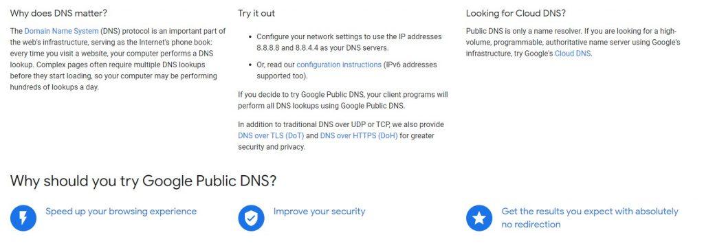Servidores DNS Gratuitos - servicio gratuito de google dns